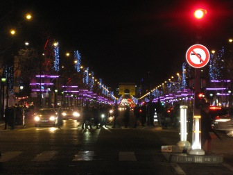 Looking down the Champs Elysee towards the Arc de Triomphe