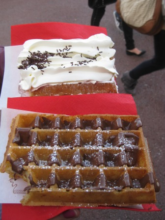 Waffles with whipped cream and Nutella!