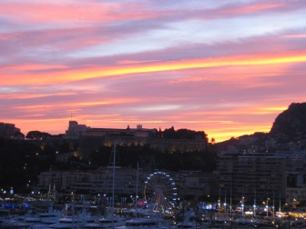 Sunset over the port in Monaco