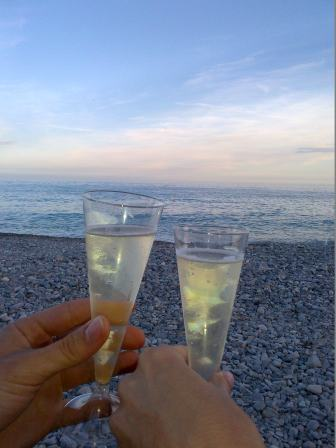 Prosecco and the sunset-- chin chin :)