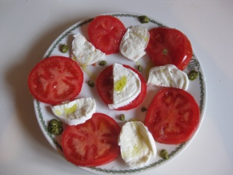 Mozzarella and tomato salad with our produce from the market
